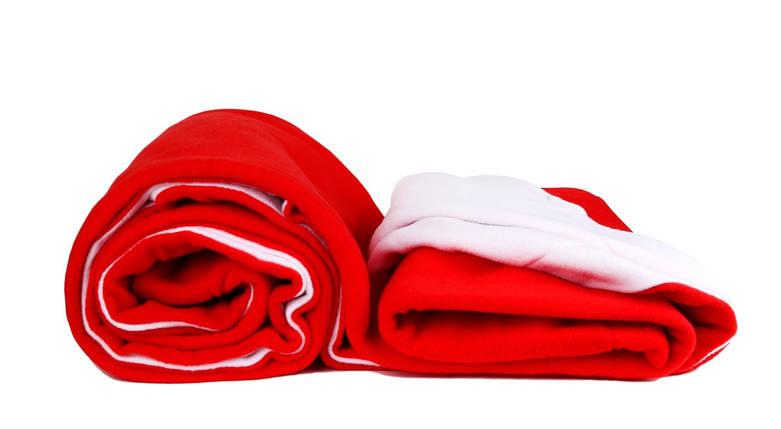 Плед подвійний флісовий 160х200 см білий + червоний, фото 2