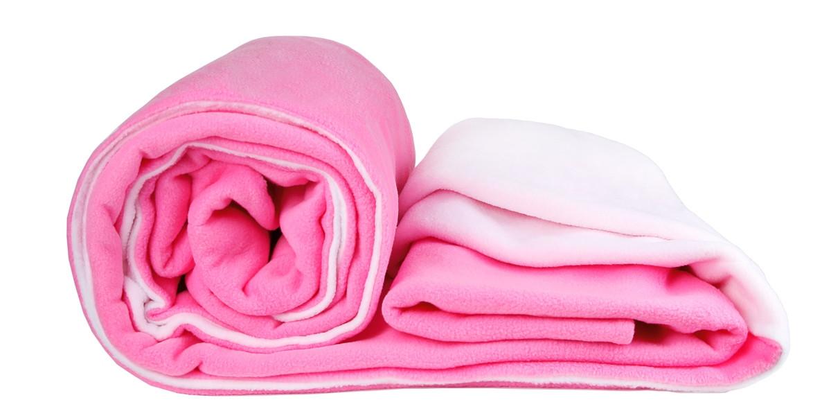 Плед подвійний флісовий 160х200 см білий + рожевий