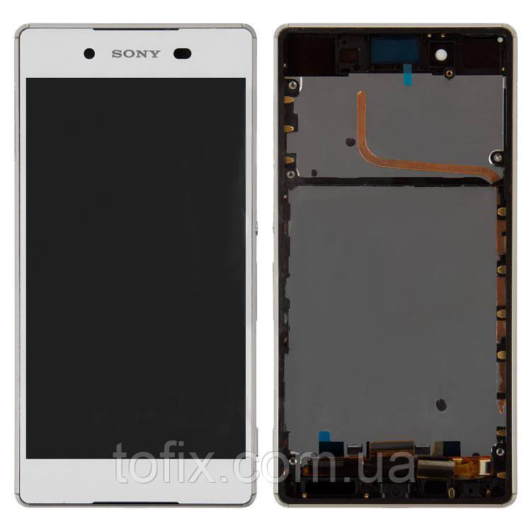 Дисплейный модуль (экран и сенсор) для Sony Xperia Z4, с рамкой, белый, оригинал