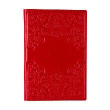Обложка для паспорта и карт кожаная с художественным тиснением (Арт Кажан). Цвет красный