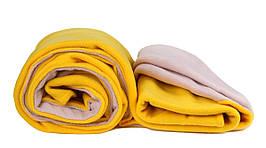 Плед подвійний флісовий 145х200 см жовтий + бежевий