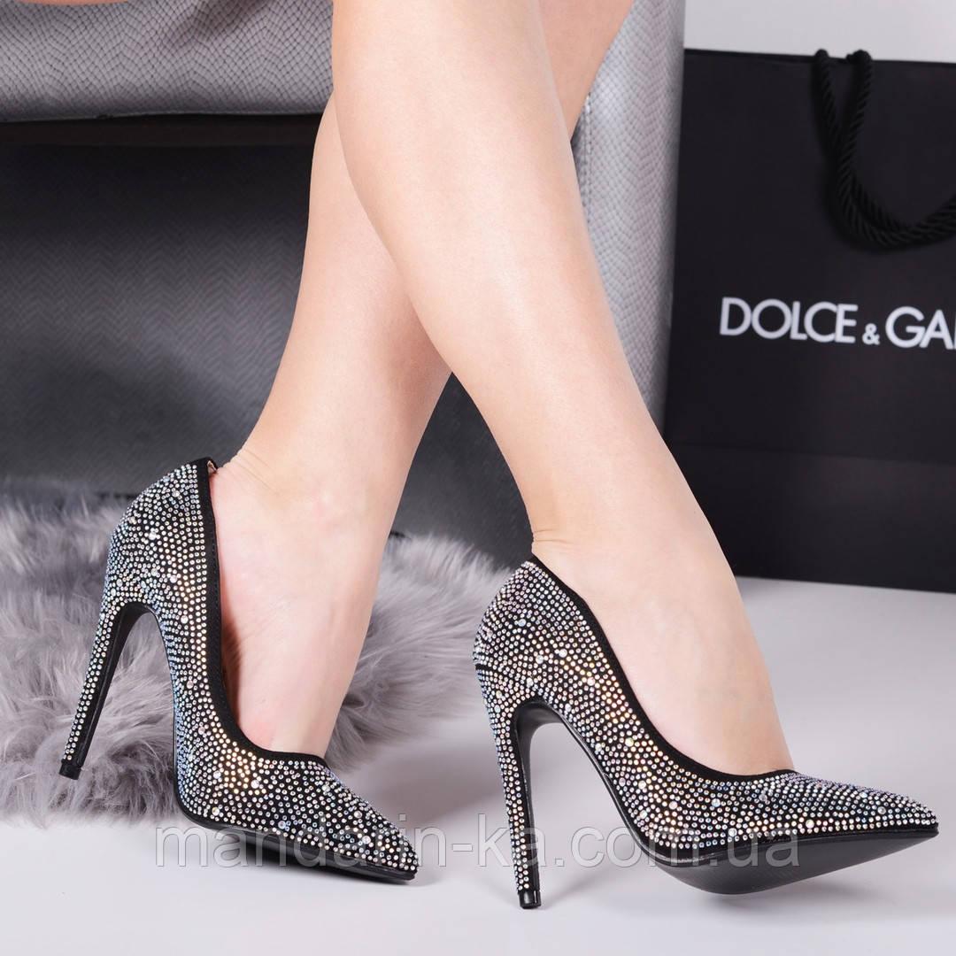 Женские туфли лодочки стразы каблук 11,5 см