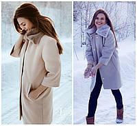 Женское кашемировое пальто с мехом 17648, фото 1