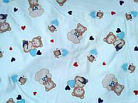 Ткань фланель детская для пеленок ш.180 см Мишки