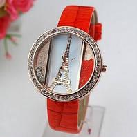 Оранжевые женские часы с эйфелевой башней