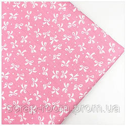 Ткань хлопок 100% бантик , розовая белый бантик, Корея отрез 40 на 50 см