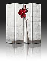 """Ширма """"Красный цветок в белой вазе"""", 160х180см, деревянная"""