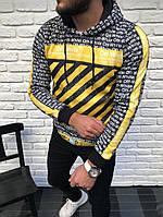 Кофта мужская толстовка теплая с капюшоном Off White № 4 (реплика)