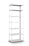 Стеллаж полочный Стандарт (2000х1200х600), на зацепах, 5 полок, 130 кг/полка, металлическая полка