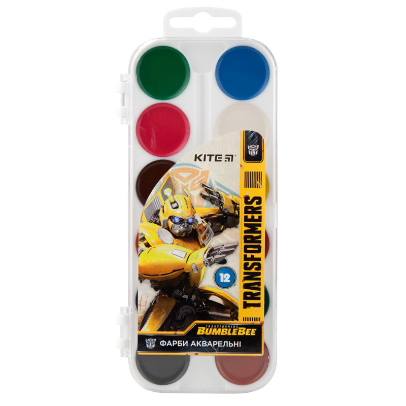 Краски акварельные Kite Transformers TF19-061, 12 цветов, без кисточки