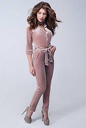 Женский брючный комбинезон из бархата №416 розовый беж