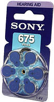 Воздушно-цинковый Батарейка Sony PR675D6A \ 675 (PR44) для слуховых аппаратов, 6шт