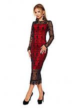 Стильное двухслойное платье с кружевом