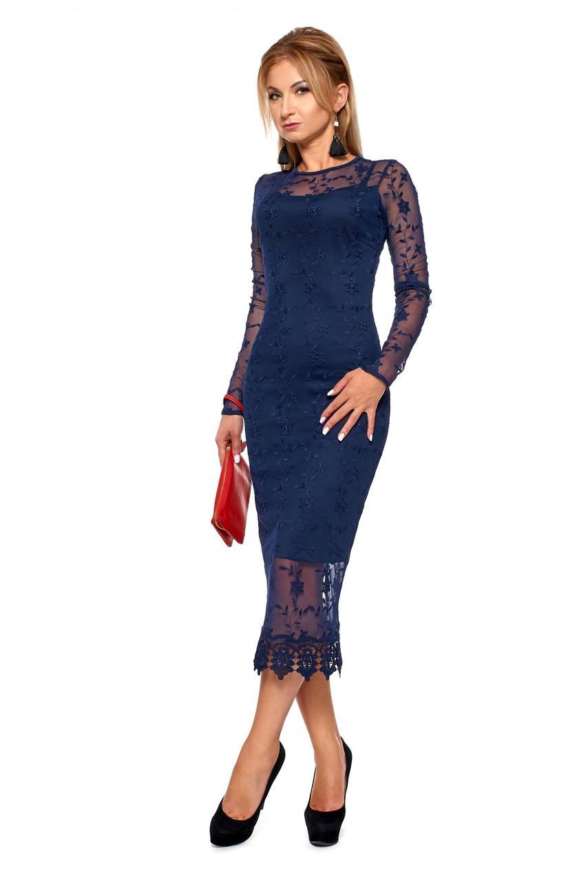 Стильное двухслойное платье с кружевом р.46