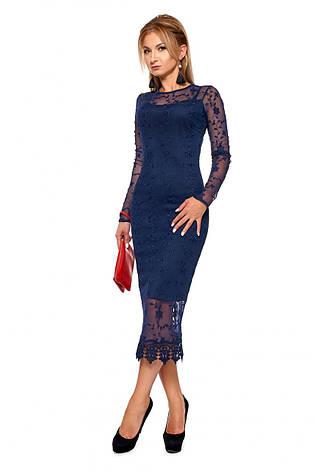 Стильное двухслойное платье с кружевом р.46, фото 2