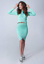 Женский спортивный комплект юбка+кофта из трехнитки №473