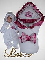 """Зимний набор для новорожденных """"Очарование"""", белый с розовой отделкой, фото 1"""