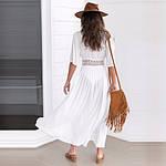 Пляжный белый халат средней длины - S (бюст 84см, талия 65см, длина 120см), 35%cotton, 65%полиэстер, фото 5
