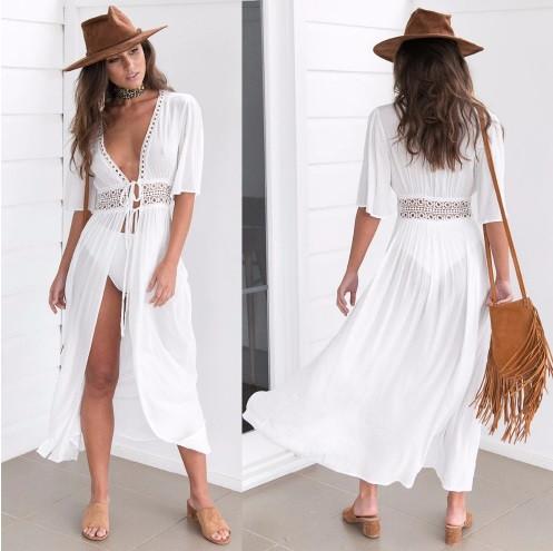 Пляжный белый халат средней длины - S (бюст 84см, талия 65см, длина 120см), 35%cotton, 65%полиэстер