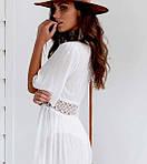 Пляжный белый халат средней длины - S (бюст 84см, талия 65см, длина 120см), 35%cotton, 65%полиэстер, фото 6