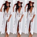 Пляжный белый халат средней длины - S (бюст 84см, талия 65см, длина 120см), 35%cotton, 65%полиэстер, фото 3