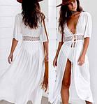 Пляжный белый халат средней длины - S (бюст 84см, талия 65см, длина 120см), 35%cotton, 65%полиэстер, фото 7