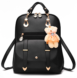 Рюкзак для девочки Teddy Beer(Тедди) с брелком мишка черный.