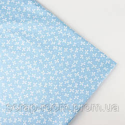 Ткань хлопок 100% бантик , голубая белый бантик, Корея отрез 40 на 50 см