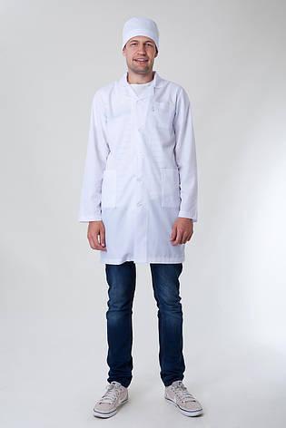 Медицинский мужской хлопковый белый халат 2148 ( батист 42-60 р-р ), фото 2