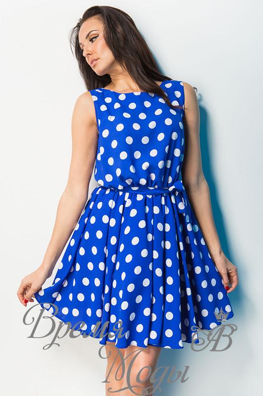 8a941feb60c Платье в Горошек с Кружевом на Спинке.  Синее  — в Категории