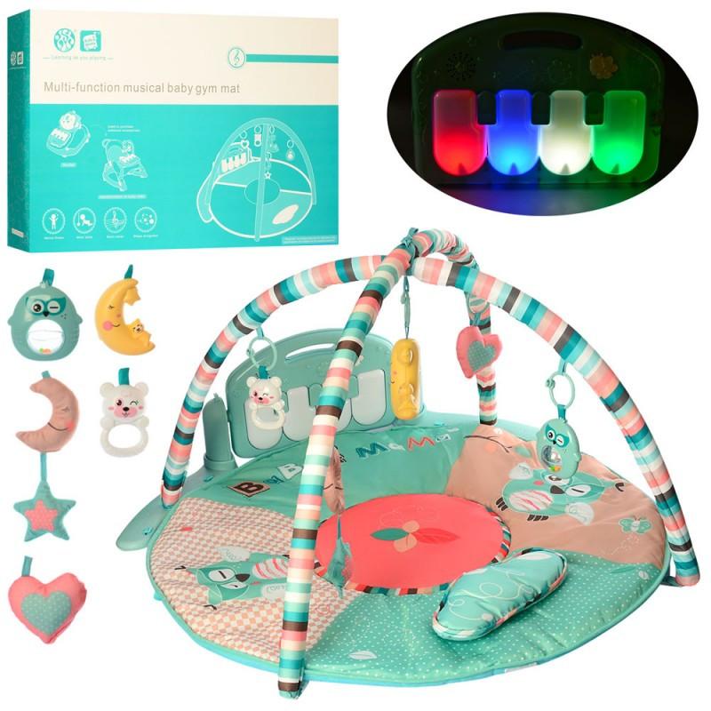Развивающий коврик для младенца с музыкальным игровым центром - пианино, дуга, подвески, HX11200-A