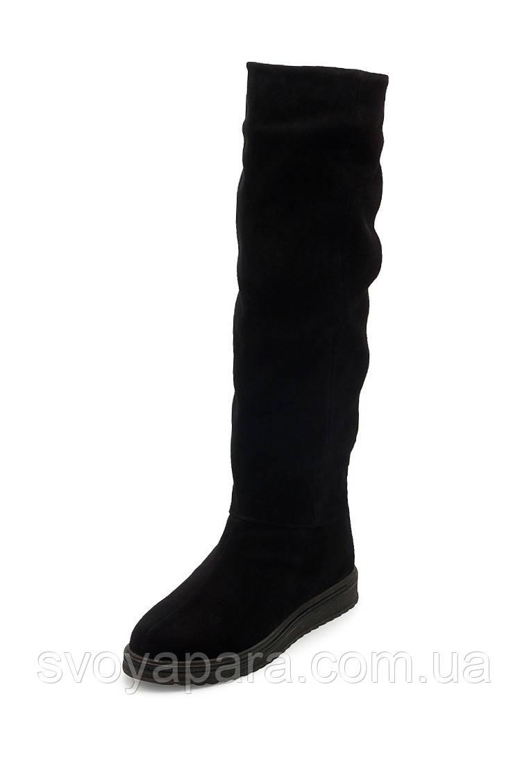 Женские демисезонные сапоги черные замшевые (10006)