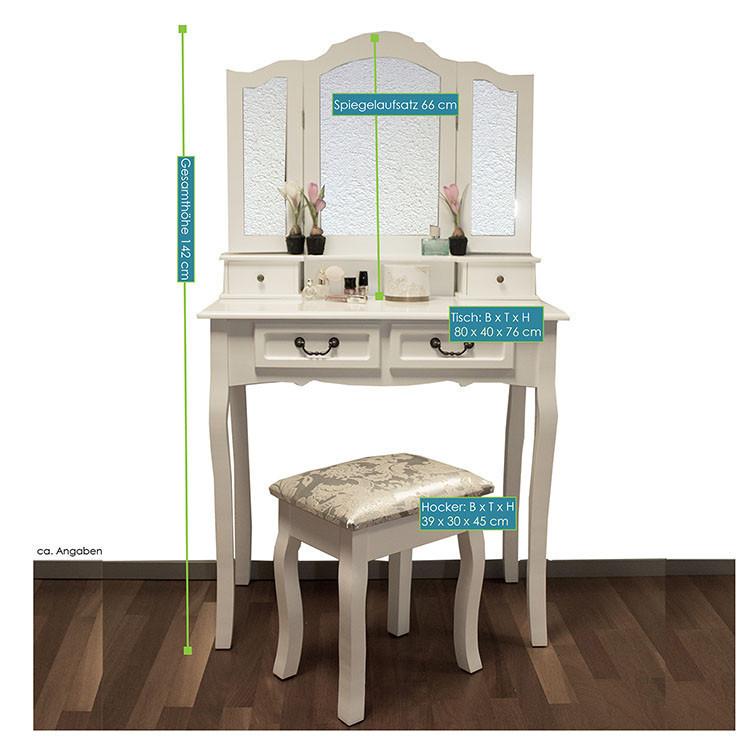 Туалетний столик Emma з табуретом і дзеркалами