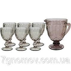 Набор 6 бокалов Bailey Afina 250 мл и графин 1000 мл розовый (102-34)