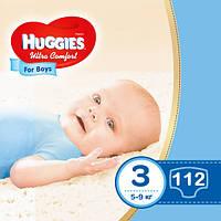 Подгузники Huggies Ultra Comfort для мальчиков 3 (5-9 кг) Mega Box 112 шт., фото 1
