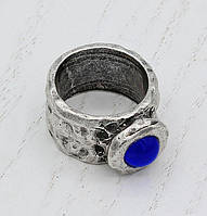 Кольцо цельнолитое Цефеида с синим камнем 18,5р