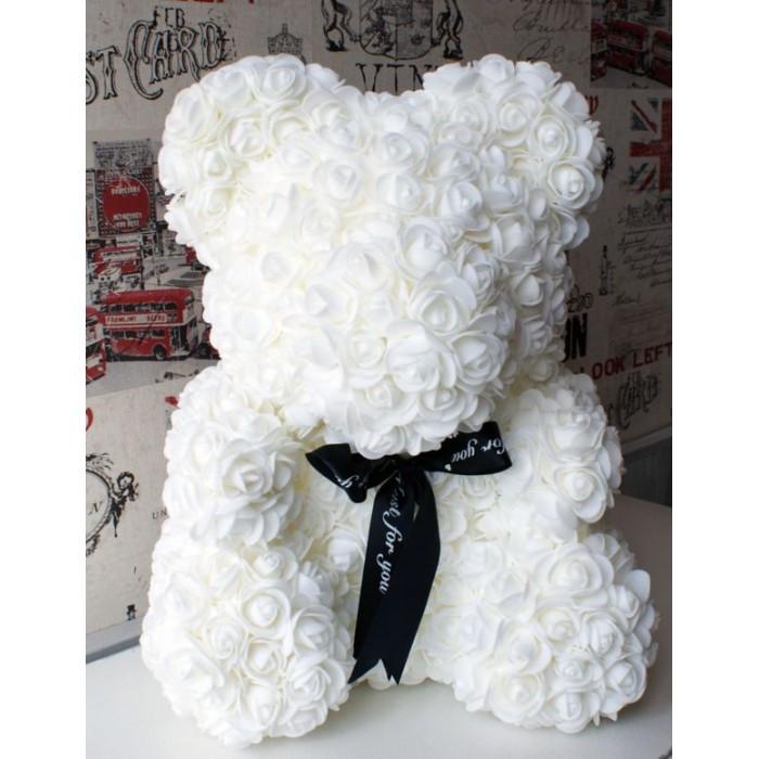 Мишка из роз в подарочной коробке (40 см.). Оригинальный подарок любимой !!!