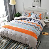 Яркий хлопковый комплект постельного белья в полоску (полуторный)