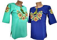 Женская вышиванка на каждый день с подсолнухами в современном стиле, фото 1