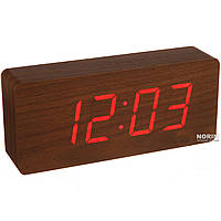 Настольные часы Led Woden Clock (VST-865-1) Коричневые с красной подсветкой
