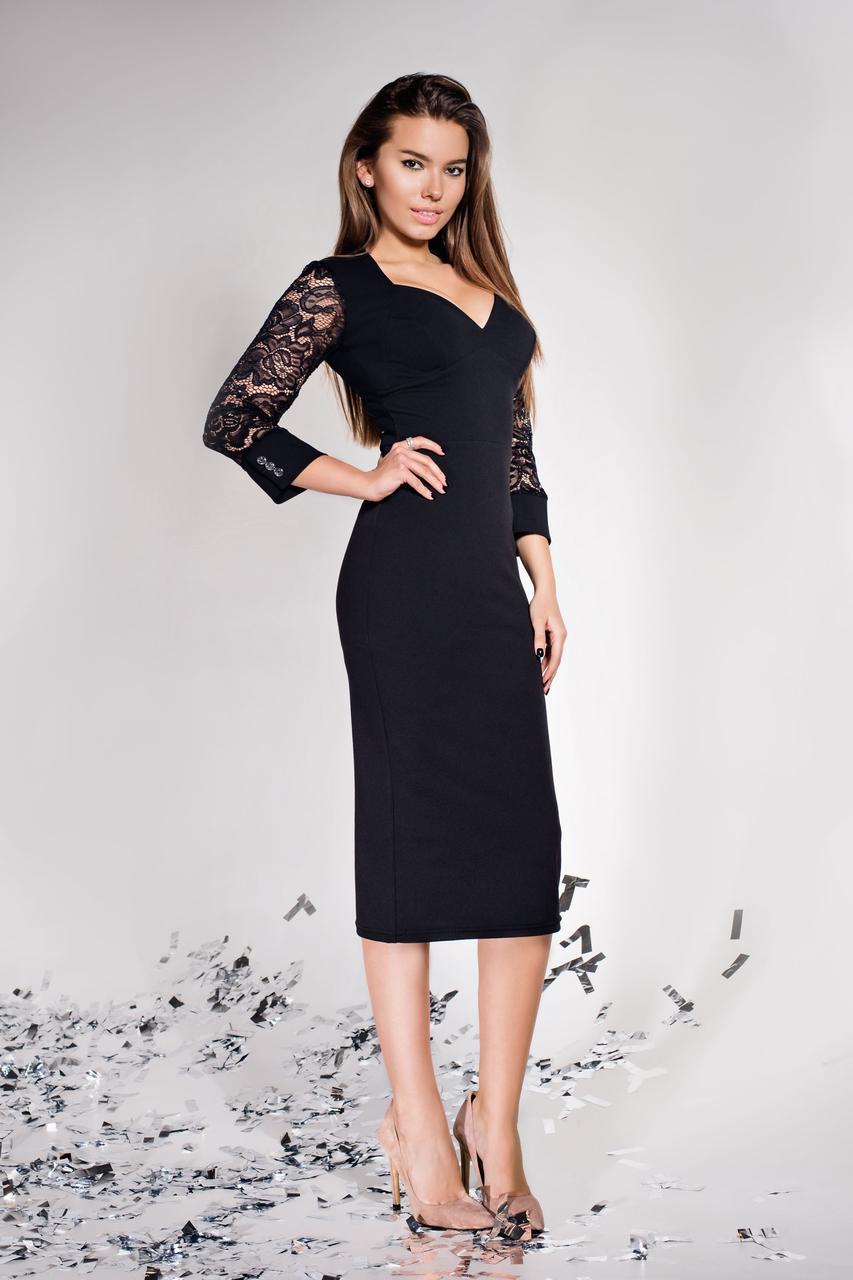 Женское платье карандаш размеры от 42 до 50, чёрное, миди, облегающее, креп-дайвинг, с гипюром, молодёжное