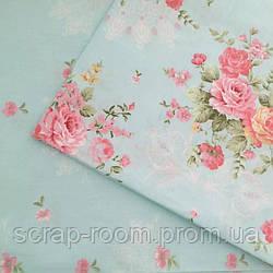 Ткань хлопок 100% голубая, розовая, с цветами Корея отрез 40 на 50 см