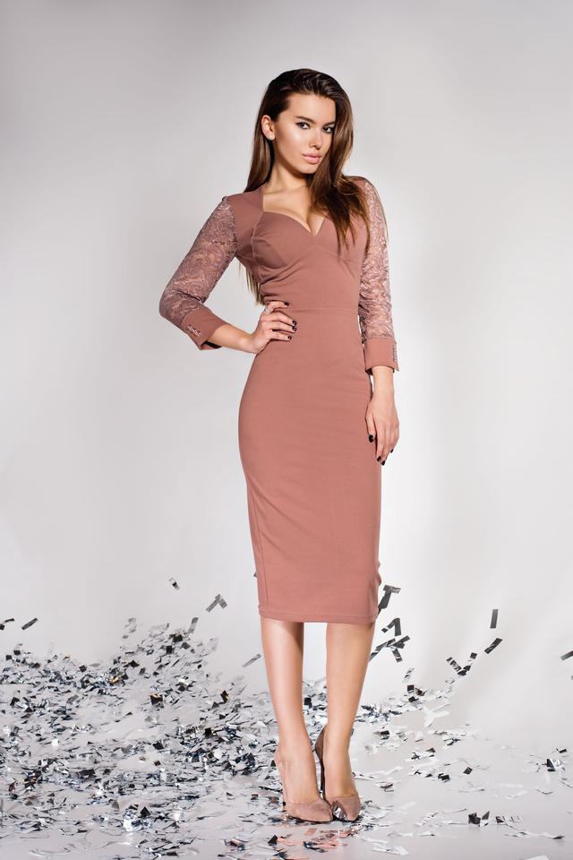 Женское платье карандаш, бежевое, миди, облегающее, креп-дайвинг, с гипюром, молодёжное, нарядное