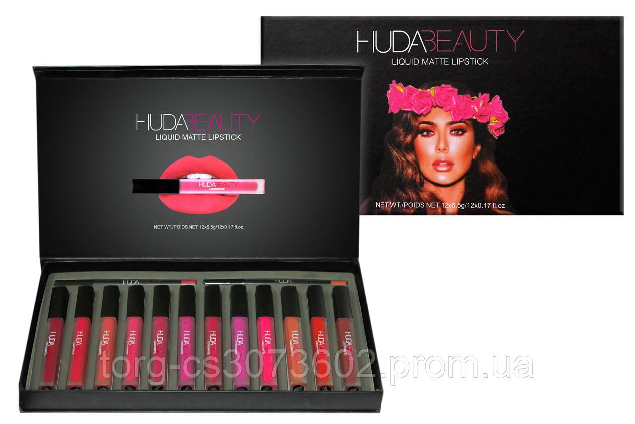 Набір рідких матових помад (12 шт.) + олівці для губ (2 шт.) Huda Beauty