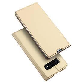 Чехол книжка для Samsung Galaxy S10 боковой с отсеком для визиток, DUX DUCIS, золотистый