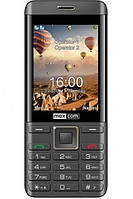 Кнопочный телефон на 2 сим карты с большим экраном и камерой 2Мп Maxcom MM236 черно-золотистый