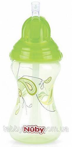 Поильник NUBY Flip It с трубочкой-непроливайкой Click It, 300 мл (зеленый)