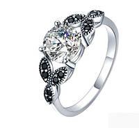 Серебряное кольцо, с камнями куб. цирконий и черный шпинель, 925 проба, размер 17 и 18, фото 1