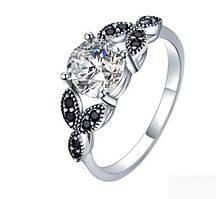 Серебряное кольцо, с камнями куб. цирконий и черный шпинель, 925 проба, размер 17 и 18