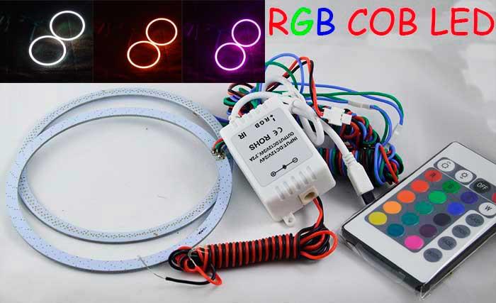 Светодиодные кольца RGB (ангельские глазки) 90-78 мм. COB  суперяркие ПАРА